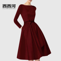 Dress Spring of 2019 claret M L XL 2XL S Mid length dress singleton  Long sleeves street Crew neck High waist Solid color Socket A-line skirt routine Others 30-34 years old Type X Xixi River OM18-1747 More than 95% polyester fiber Polyester 100% Pure e-commerce (online only) Europe and America