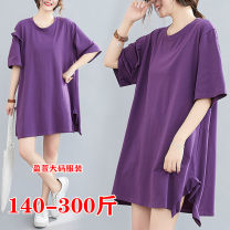 Women's large Summer 2020 violet 2XL,3XL,4XL,5XL Dress singleton  commute easy thin Socket Short sleeve Solid color Korean version Lotus leaf collar Medium length Cotton, others Lotus leaf sleeve 1966 purple off the shoulder skirt 25-29 years old 91% (inclusive) - 95% (inclusive) Ruffle Skirt