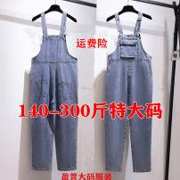 Casual pants blue 2XL,3XL,4XL,5XL,6XL Autumn 2020 trousers rompers High waist commute routine 25-29 years old 71% (inclusive) - 80% (inclusive) cotton Korean version Button cotton