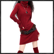 Wool knitwear Autumn of 2018 S,M,L,XL,2XL,3XL Black, red, violet, coffee, dark gray, rose, rust Long sleeves singleton  Socket other 31% (inclusive) - 50% (inclusive) Medium length routine commute Self cultivation Pile collar pagoda sleeve Solid color Socket Korean version 35-39 years old