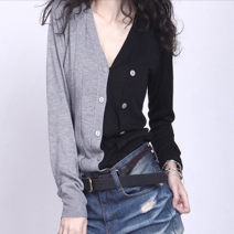 Wool knitwear Spring 2020 S,M,L,XL,2XL,3XL Black grey button up cardigan Long sleeves singleton  Socket other 31% (inclusive) - 50% (inclusive) Regular routine commute easy V-neck routine Solid color Retro 25-29 years old