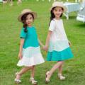 Dress White, green female 110cm,120cm,130cm,140cm,150cm,160cm Cotton 100% summer leisure time Short sleeve other Pure cotton (100% cotton content) Splicing style Class B Four, five, six, seven, eight, nine, ten, eleven, twelve, thirteen, fourteen Chinese Mainland Guangdong Province