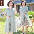 Middle aged and old women's wear Summer 2020 green XL (within 100 kg recommended) 2XL (100-115 kg recommended) 3XL (115-130 kg recommended) 4XL (130-145 kg recommended) 5XL (145-160 kg recommended) fashion Dress easy singleton  Decor 40-49 years old Socket thin Crew neck Medium length LS2020BB2026