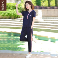 Middle aged and old women's wear Summer 2021 Navy Blue fashion suit easy Two piece set Solid color 40-49 years old Socket thin V-neck routine routine LS2021B1229 Sskkdeer / Luxi pocket polyester Polyester 95% polyurethane elastic fiber (spandex) 5% 91% (inclusive) - 95% (inclusive) Ninth pants