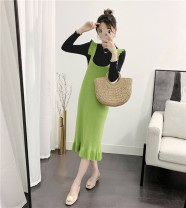 Dress Winter 2020 8188 - green 8188 - brick red 8188 - yellow 8188 - Black Grey Average size Mid length dress singleton  Sleeveless commute square neck High waist Solid color Socket Ruffle Skirt Flying sleeve camisole 25-29 years old Type H Yalianxiang Korean version Lotus leaf edge More than 95%