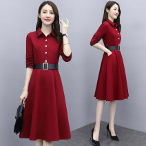 Dress Autumn 2020 Black red M L XL 2XL 3XL Mid length dress singleton  Long sleeves commute Polo collar High waist Solid color Socket A-line skirt routine Others 35-39 years old Type A Melanie Button 020T-0805025 51% (inclusive) - 70% (inclusive) polyester fiber Pure e-commerce (online only)