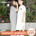 Dress Grey, white female Yadou 90cm,100cm,110cm,120cm,130cm,140cm,150cm Cotton 100% summer Korean version Short sleeve Solid color Pure cotton (100% cotton content) A-line skirt Class B Three, four, five, six, seven, eight