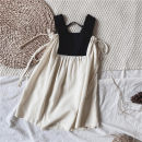 Dress Black and white vest skirt female Other / other 80cm,90cm,100cm,110cm,120cm,130cm,140cm Other 100% summer Korean version Skirt / vest Cotton and hemp A-line skirt 18 months, 2 years old, 3 years old, 4 years old, 5 years old, 6 years old, 7 years old, 8 years old