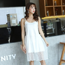 Dress Fall 2017 [long style stars all over the sky. [white], [short all over the sky. [white] S,M,L,XL singleton  Sleeveless commute Solid color camisole Korean version 30% and below other