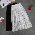 skirt Fall 2017 S,M,L,XL Mid length dress Versatile Natural waist A-line skirt Solid color Type H 30% and below other other Lace