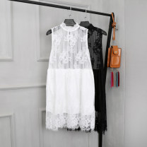 Dress Fall 2017 Black, white XL,L,M,S singleton  Sleeveless commute Solid color A button Princess Dress Korean version Lace 30% and below Lace other
