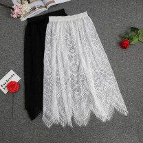 skirt Fall 2017 XL,L,M,S Mid length dress Versatile Natural waist A-line skirt Solid color Type H 30% and below other other Lace