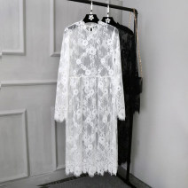 Dress Autumn 2016 One size fits all. Black, one size fits all. white Mid length dress singleton  Long sleeves commute stand collar Loose waist Solid color A button Princess Dress 18-24 years old Lace 30% and below Lace other