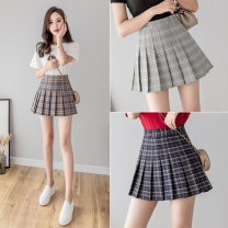 skirt Spring 2021 S,M,L,XL,2XL Blue 175-081, gray 175-081, Kage 175-081, white 175-081, black 175-081, gray 175-081, pink 175-081 Short skirt commute High waist Pleated skirt lattice Type A 18-24 years old #1555 71% (inclusive) - 80% (inclusive) other Other / other other Korean version