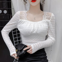 Lace / Chiffon Spring 2021 White, black, apricot S,M,L,XL Long sleeves commute Socket singleton  Self cultivation 18-24 years old jr Nail bead, lace Korean version 71% (inclusive) - 80% (inclusive)