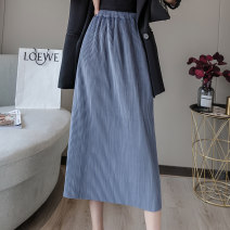 skirt Spring 2021 S,M,L,XL,2XL Off white, black, black grey, grey blue Mid length dress Versatile High waist A-line skirt Solid color Type A 18-24 years old AT 31% (inclusive) - 50% (inclusive) corduroy other