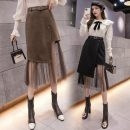 skirt Spring 2021 S,M,L,XL,2XL Brown, black Mid length dress commute High waist Irregular Solid color Type A 18-24 years old AT 81% (inclusive) - 90% (inclusive) other other Mesh, asymmetric, stitching Korean version