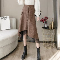 skirt Spring 2021 S,M,L,XL Khaki, black Mid length dress commute High waist A-line skirt lattice Type A 18-24 years old jr 71% (inclusive) - 80% (inclusive) Wool other Asymmetric, button, mesh, stitching Korean version