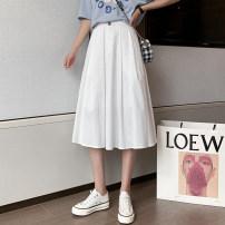 skirt Summer 2021 S,M,L,XL White, black Mid length dress commute High waist A-line skirt Type A XW 71% (inclusive) - 80% (inclusive) Korean version