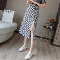 skirt Summer 2021 S,M,L,XL Black, khaki longuette Versatile High waist other lattice Type H 18-24 years old L722.45 31% (inclusive) - 50% (inclusive)