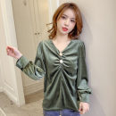 Lace / Chiffon Spring 2021 Green, black S,M,L,XL Long sleeves Versatile Socket singleton  easy Regular V-neck Solid color shirt sleeve 18-24 years old Other / other LINv27 Rivet, fold, fungus, flocking, button, 3D 81% (inclusive) - 90% (inclusive) polyester fiber