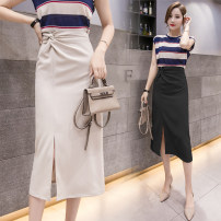 skirt Spring 2021 S,M,L,XL Black, apricot Mid length dress commute High waist Irregular Solid color Type A 18-24 years old AT 31% (inclusive) - 50% (inclusive) other other Korean version