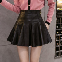 skirt Spring 2021 S,M,L,XL black Short skirt commute High waist Umbrella skirt Solid color Type A 18-24 years old AT 51% (inclusive) - 70% (inclusive) other PU Korean version