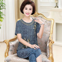 Middle aged and old women's wear Summer 2020 XL (recommended weight is about 100 kg) 2XL (recommended weight is about 115 kg) 3XL (recommended weight is about 130 kg) 4XL (recommended weight is about 150 kg) 5XL (recommended weight is about 155 kg) fashion suit Self cultivation Two piece set other