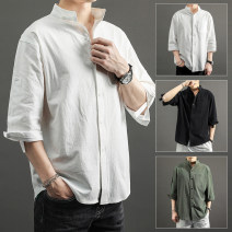 shirt Youth fashion Jifanpoul / givan Paul M L XL 2XL 3XL 4XL 5XL routine stand collar three quarter sleeve easy Other leisure summer C1020 teenagers Cotton 95% flax 5% Business Casual Solid color Summer 2020 cotton 90% (inclusive) - 95% (inclusive)