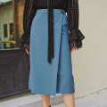 skirt Winter of 2019 S M L Blue black Mid length dress commute High waist A-line skirt Solid color Type A 25-29 years old C93 More than 95% Chiffon Jue Qiu other Asymmetric button zipper Korean version Other 100% Exclusive payment of tmall