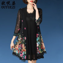Middle aged and old women's wear Summer of 2019 black XL 2XL 3XL 4XL 5XL ethnic style suit Self cultivation Two piece set Broken flowers 40-49 years old Cardigan thin other Medium length routine OYZ150109 Ou yuezi polyester Polyester 95% polyurethane elastic fiber (spandex) 5% Short skirt other