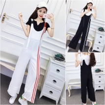 Casual pants White black Average size Summer of 2018 trousers High waist commute routine 18-24 years old Other / other Cotton blended fabric Korean version cotton