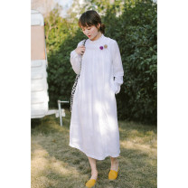 Dress Spring 2020 White (no return, no change) S,M,L longuette singleton  Long sleeves commute other middle-waisted Solid color other other routine Others Type A Suo family literature More than 95% hemp