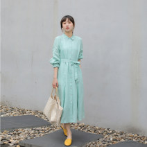 Dress Spring 2020 Jade green S,M,L longuette singleton  Long sleeves commute other middle-waisted Solid color Single breasted other routine Others Type A Suo family literature More than 95% hemp