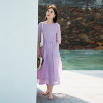 Dress Summer 2021 lilac colour S,M,L longuette singleton  elbow sleeve commute Crew neck Loose waist Solid color other other routine Others Type A Suo family literature More than 95% other hemp