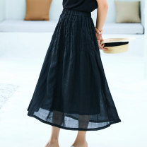 skirt Summer 2020 S,M,L black Mid length dress commute Natural waist A-line skirt Solid color Type A More than 95% Suo family hemp literature