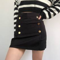 skirt Summer 2021 S,M,L black Short skirt commute High waist A-line skirt Solid color Type A 25-29 years old 71% (inclusive) - 80% (inclusive) brocade polyester fiber Button