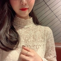 Lace / Chiffon Autumn 2020 Soft apricot S M L XL Long sleeves commute Socket singleton  easy Regular stand collar Solid color Lotus leaf sleeve 18-24 years old Qiaonifen Hollow lace Korean version 96% and above Polyester 70% other 30% Exclusive payment of tmall