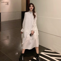 Dress Autumn 2020 Dress Vest S M L XL Mid length dress singleton  Long sleeves commute stand collar Loose waist Solid color zipper A-line skirt routine Others 25-29 years old Type H Qiaonifen Splicing More than 95% other polyester fiber Polyester 100% Pure e-commerce (online only)