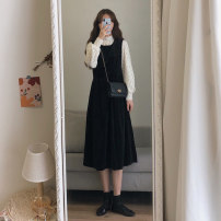Dress Winter 2020 black and white S M L XL Mid length dress Two piece set Long sleeves commute Half high collar High waist Solid color Socket A-line skirt routine Others 18-24 years old Type A Qiaonifen Korean version Splicing 51% (inclusive) - 70% (inclusive) other polyester fiber