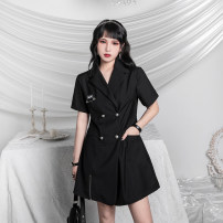Dress Summer 2020 black S,M,L,XL Short skirt singleton  Short sleeve street tailored collar middle-waisted Solid color double-breasted A-line skirt other Others 18-24 years old Type X 31% (inclusive) - 50% (inclusive) brocade nylon