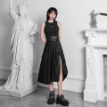 skirt Summer of 2019 S,M,L black Mid length dress Versatile High waist A-line skirt Solid color Type A 18-24 years old 31% (inclusive) - 50% (inclusive) brocade nylon 201g / m ^ 2 (including) - 250G / m ^ 2 (including)