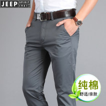 Casual pants Jeep / Jeep other 30 31 32 33 34 35 36 38 40 42 44 thin trousers Other leisure Straight cylinder Micro bomb summer middle age American leisure 2021 Medium high waist Straight cylinder Cotton 97% polyurethane elastic fiber (spandex) 3% cotton Spring 2021