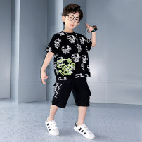 suit Prince McGrady 110cm 120cm 130cm 140cm 150cm 160cm 170cm male summer leisure time Short sleeve + pants 2 pieces Thin money There are models in the real shooting Socket nothing Cartoon animation cotton children Expression of love Class B Cotton 100% Summer 2021
