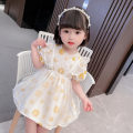 Dress yellow female Youshibei 90cm 100cm 110cm 120cm 130cm Other 100% summer Korean version Short sleeve Solid color Cotton blended fabric Fluffy skirt Class A Summer 2021 12 months 6 months 9 months 18 months 2 years 3 years 4 years 5 years old