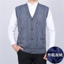 Vest / vest Business gentleman Others L,XL,2XL,3XL Other leisure easy Woolen vest Plush and thicken winter V-neck old age 2020 Business Casual 26# diamond Single breasted Assorted hem No iron treatment jacquard weave Bag digging with open cut thread