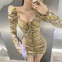 Dress Spring 2021 yellow S,M,L Short skirt singleton  Long sleeves commute V-neck High waist Broken flowers One pace skirt routine Others 18-24 years old Type A Bandage JOY3025 31% (inclusive) - 50% (inclusive) other cotton