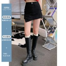 Jeans Summer 2021 Blue, black S,M,L shorts High waist Straight pants washing Cotton denim Black and blue skirt with oblique placket Yang paopaopao 96% and above