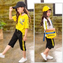 suit Other / other White yellow 110 [suggested height 100cm] 120 [suggested height 110cm] 130 [suggested height 120cm] 140 [suggested height 130cm] 150 [suggested height 120cm] 160 [suggested height 150cm] female summer leisure time Short sleeve + pants 2 pieces routine Socket nothing Solid color