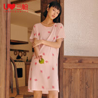 Nightdress Threegun / three guns 160(M) 165(L) 170(XL) 175(XXL) Simplicity Short sleeve Leisure home Middle-skirt summer Cartoon animation youth Crew neck cotton printing More than 95% pure cotton 70255A/9 Spring 2020 Cotton 100% Same model in shopping mall (sold online and offline) Cotton 100%